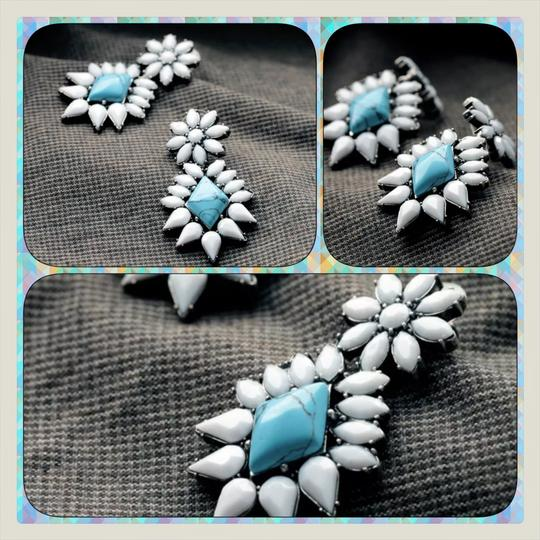 Other NEW White Enamel & Turquoise Dangle Earrings