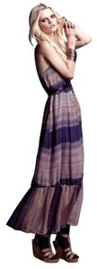 Blur Ikat Maxi Dress by Twelfth St. by Cynthia Vincent Maxi Ruffle Print Strapless