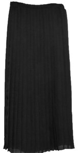 Coldwater Creek Long Chiffon Pleated Lined Maxi Skirt black