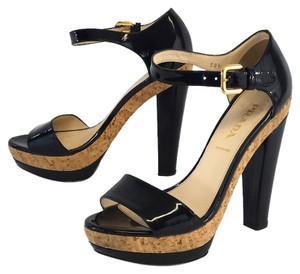 Prada Black Patent Leather Cork Platform Sandals