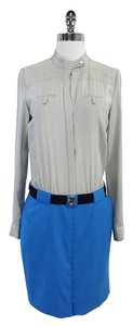 Diane von Furstenberg short dress Grey Blue Silk Shirt on Tradesy