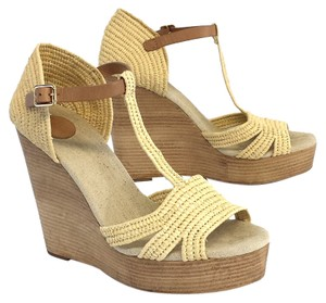 Tory Burch Tan Woven Platform Wedges