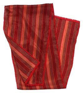 Oscar de la Renta Red Striped Silk Scarf