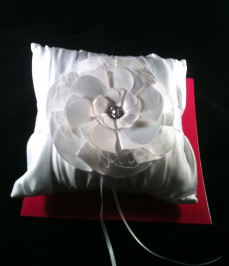 White with Rinestone Accent Ring Bearer Pillow