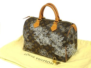 Louis Vuitton Satchel in Monogram Browns, Silver Dentelle