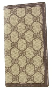 Gucci Auth GUCCI Vintage GG Pattern Billfold Wallet PVC Leather Free Shipping 8191e