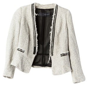 Zara Tweed Jacket Off White/Black Blazer
