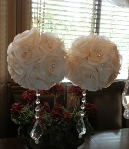 "Ivory Custom-7"" Pomanders Flower Girl Basket"