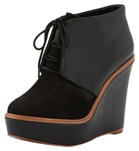 Kooba Wedge Leather Bootie black Platforms