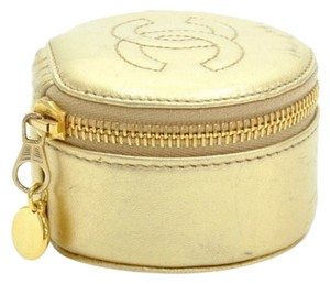 Chanel Vintage Chanel Gold Leather Mini Jewelry Case Pouch