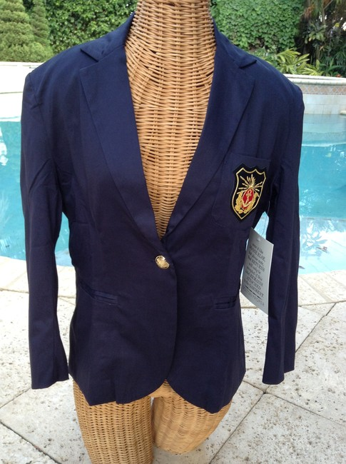 Boston Proper New With Tags Three Quarter Sleeve Enclosure Spandex Gold Navy Jacket