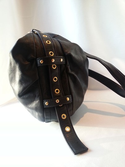 Rough Roses Messenger Shoulder Studded Buckle Adjustable Strap Center Double Stitch Seam Soft Leather Hobo Bag