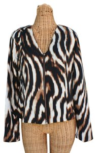 Boston Proper New With Tags Spandex Padding Two Way Zip Animal Print Brown/Multi Jacket