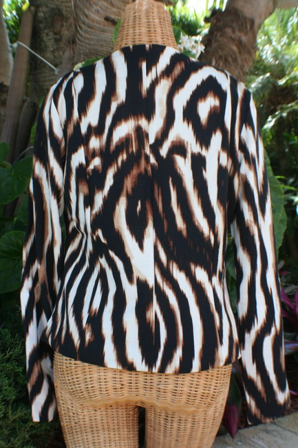 Boston Proper New With Tags Spandex Shoulder Padding Two Way Zip Animal Print Brown/Multi Jacket