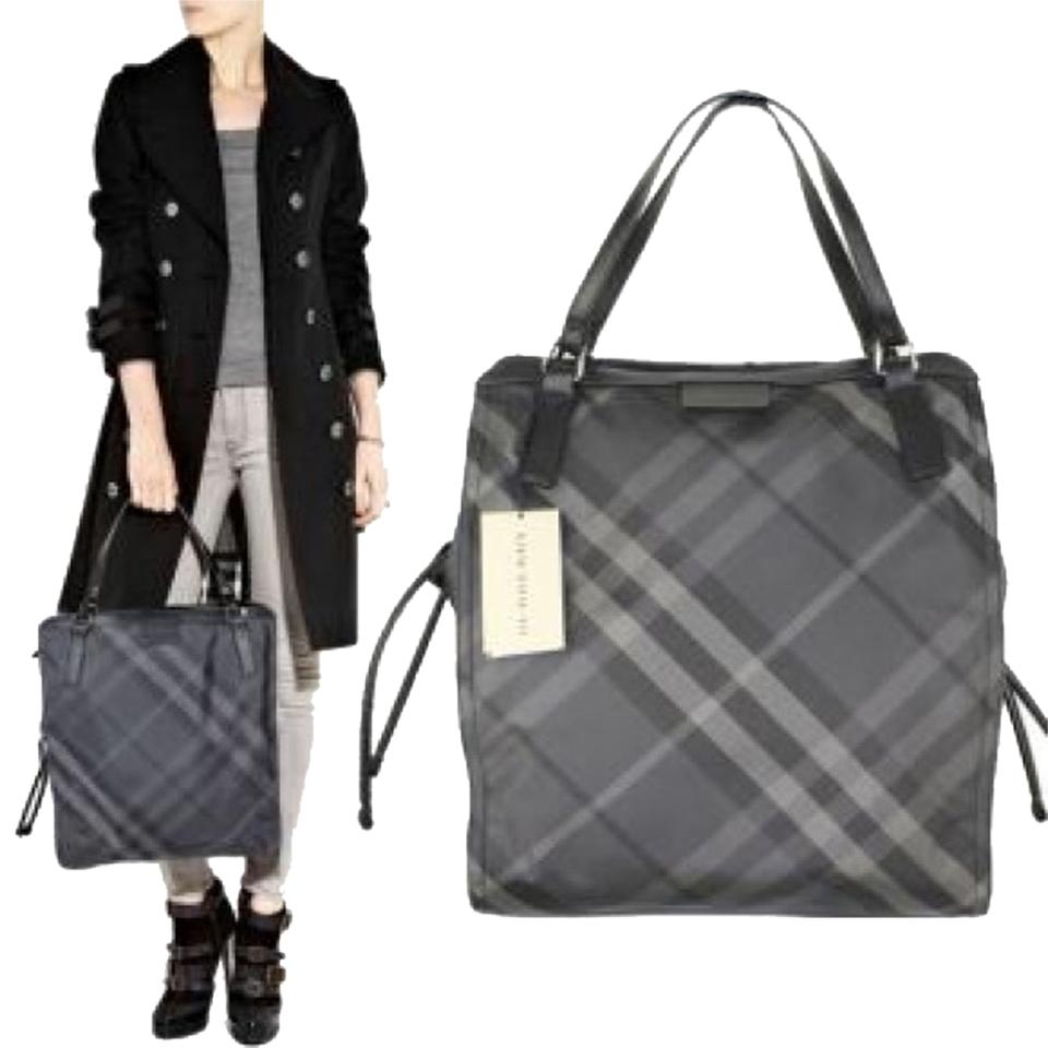Burberry Purse New Nova Check Plaid Leather Nylon Overnight Travel Weekend Tote In Gray Black