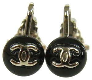 Chanel Authentic CHANEL Vintage CC Logos Earrings Clip-On Silver Black France W24386d