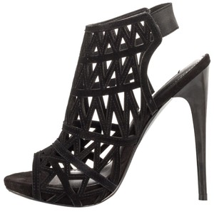 Steve Madden Cutout Strappy Sandals Women Heels Caged Black Pumps
