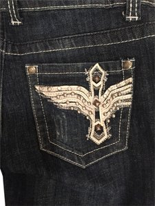 Other Denim Zipper Design Picket Design Miss Me Boot Cut Jeans-Dark Rinse
