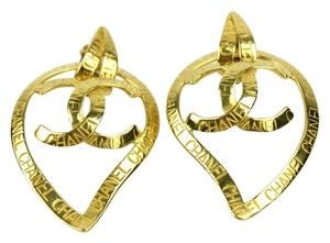 Chanel Chanel Heart Drop Name CC Logo Clip On Earrings CCAV360