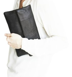 Fig Tree Accessories Python Black Clutch