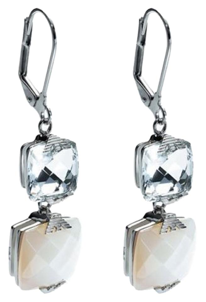 cae2ae9b Emporio Armani White/ Clear/ Silver Box Women Dangle Egs1520 Steel Mother  Of Pearl Ea Gift Earrings 53% off retail