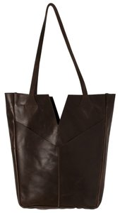 Raven + Lily Leather Tote in Dark Brown