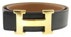 Hermès HERMES Constance H LOGO Buckle Black Leather Belt 68 to 73