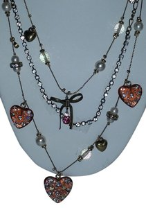 Betsey Johnson Lucite Heart Illusion Triple-Strand Necklace-Hearts Crystals Pearls