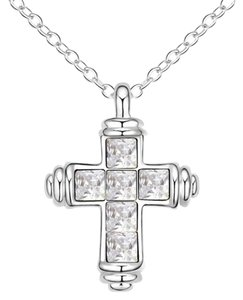 Clear Austrian Crystal Clear Authentic Austrian Crystals Cross Pendant Necklace 17+2 inches adjustable
