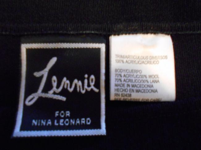 Nina Leonard 2 Piece Faux Fur Trim Black Skirt Set Image 3