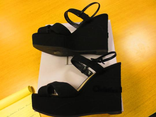 Dior Made In Italy Beige Leather Insoles Leather Ankle Strap Size 41.5 Dustbag Included Black Wedges