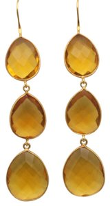 Other Triple Drop Yellow Quartz Gemstone Earrings