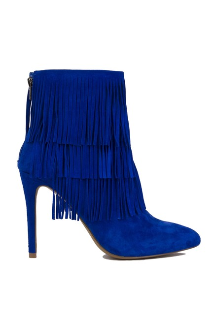 Item - Blue Flappper Three Layer Fringe Heeled Suede Boots/Booties Size US 10 Regular (M, B)