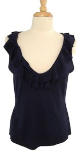 Lauren Ralph Lauren V-neck Ruffle Silk Sleeveless Top Navy
