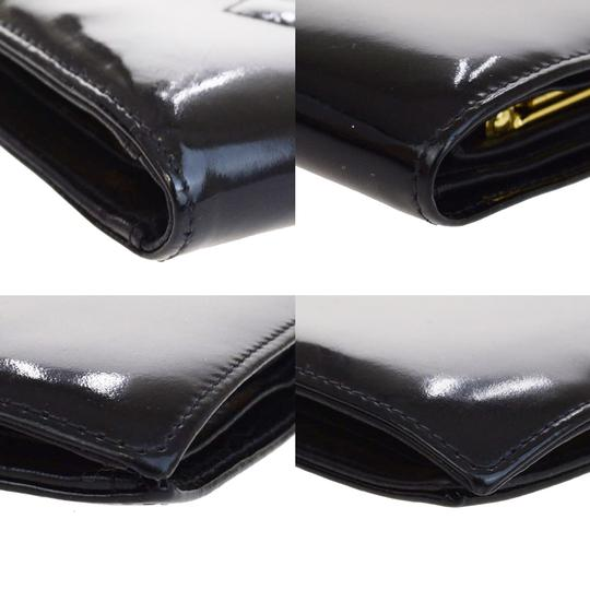 Chanel Chanel black patent leather long wallet