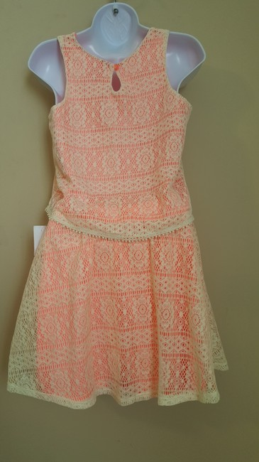 Other Pinky 2-pc Coral with Ivory Crochet Overlay Tank Skirt Set Juniors Size 14 NWT