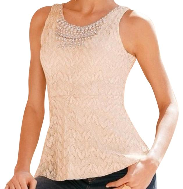 Boston Proper New With Tags Embellished Crystals Scoop Neck Peplum Lace Evening Top Soft Blush