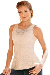 Boston Proper Embellished Crystals Top Soft Blush