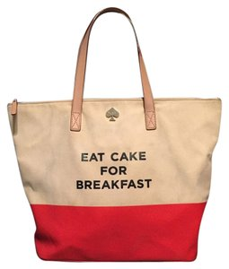 Kate Spade Eat Cake Breakfast Handbag Call To Action Tote in red