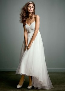 David's Bridal Tulle Over Chiffon High Low With Bow Accent Wedding Dress