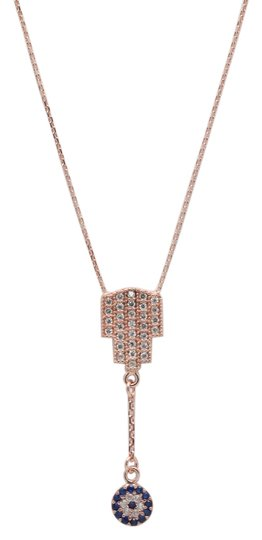 Other Rose Gold Plated Contemporary Hamsa and Evil Eye Charm Necklace