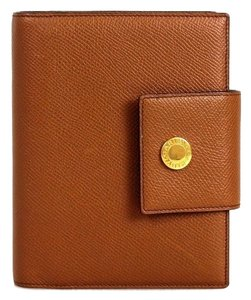 BVLGARI Bvlgari Camel Canvas Leather Gold HDW Planner Wallet