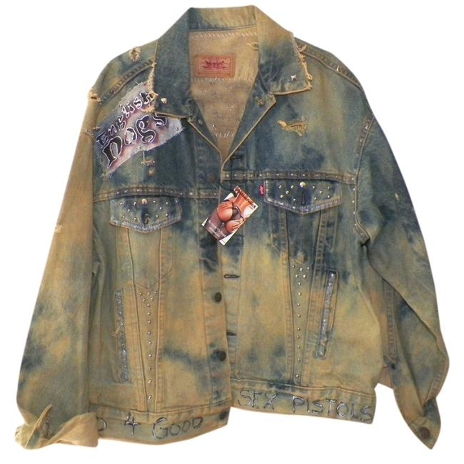 Levi - Custom altered Punk Punk Fashions 77 Punk Reccyled Hand denim Womens Jean Jacket
