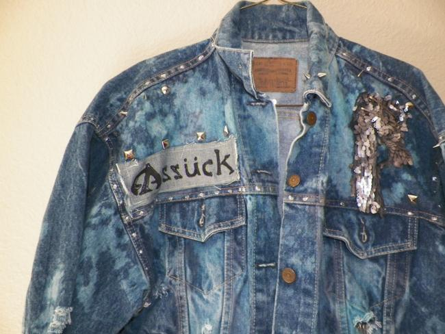 Levi- Custom altered Punk Punk Fashions 77 Punk Reccyled Hand denim Womens Jean Jacket