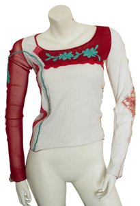 Shirt Passion Italia Boho Bohemian Couture Sheer Top white, red, aqua, pink