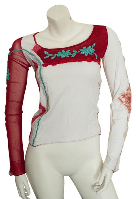 Shirt Passion Italia Boho Bohemian Couture Sheer Floral Flower Flowers Flowered Stretchy Hipster Hippy Hippie Cochella Burningman Private Top white, red, aqua, pink
