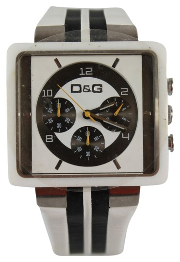 Dolce&Gabbana Dolce & Gabbana Red Black Stripe Leather Wrist Chrono Wrist Watch