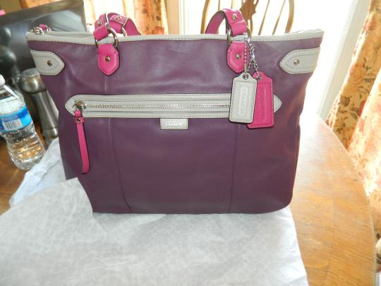 Coach Leather New Tote Silver Shoulder Bag