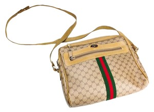 Gucci Vintage Canvas Leather Cross Body Bag