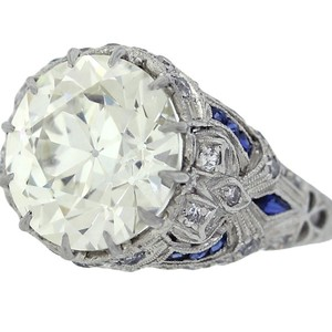 Exquisite Antique Art Deco Filigree 1920s Platinum 5.48ct Diamond Sapphire Engagement Ring